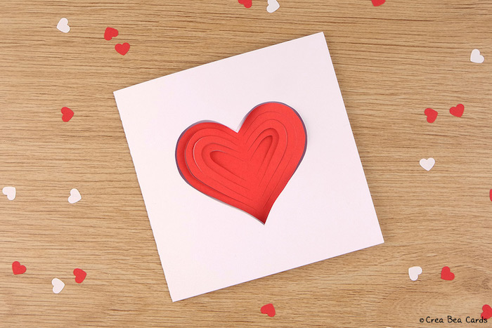 Idee für selbstgemachte Hochzeits- oder Valentinskarte, mit großem Herzen