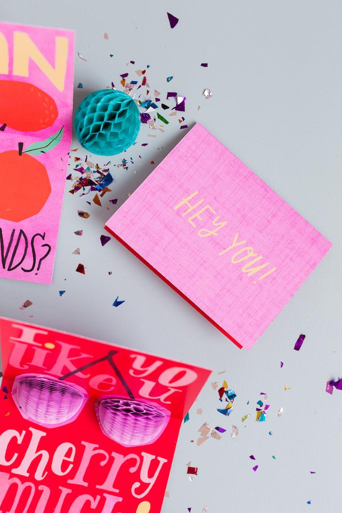Selbstgemachte Pop Up Karte, mit Kirschen, fröhliche Farben, DIY Hochzetiskarte