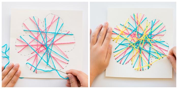 Karten selber basteln mit Kindern, Blume aus Garn gestalten, DIY Idee für Groß und Klein