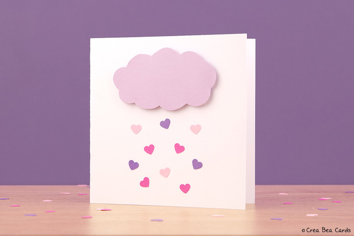 3D Karte selber basteln, lila Wolke, Regen aus kleinen Herzen, Idee für Hochzeitskarte