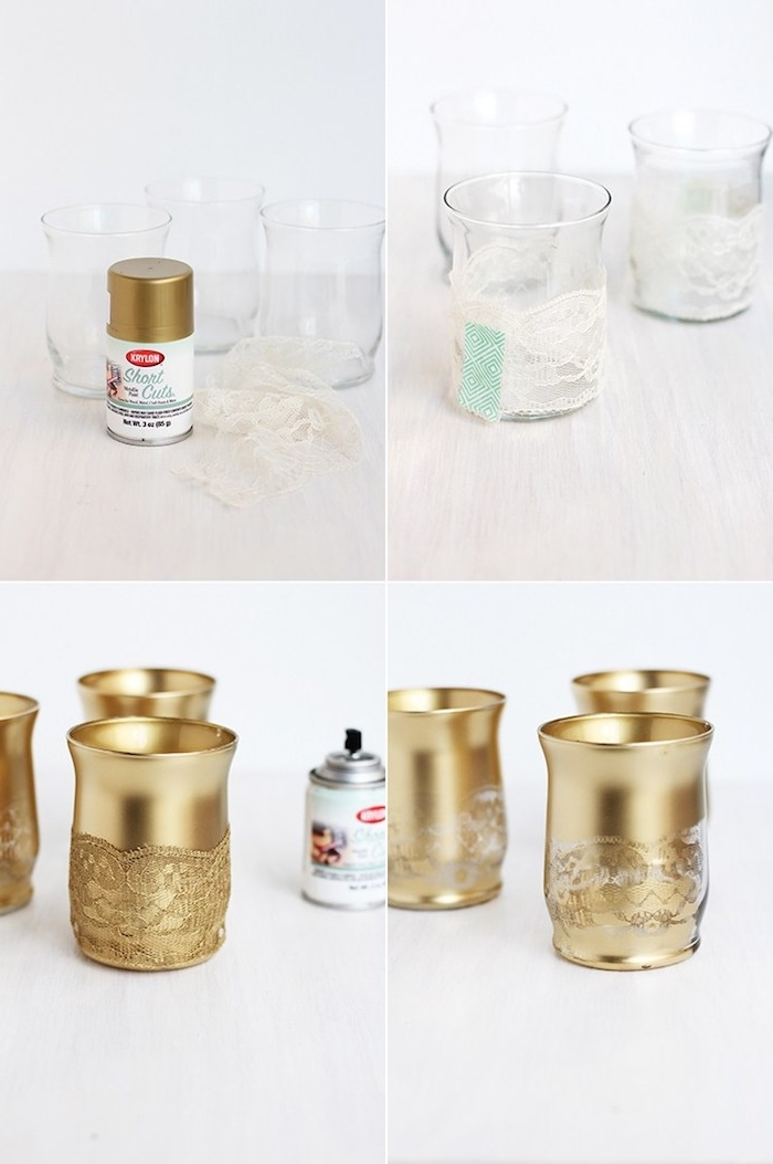 Kerzenhalter selbst gestalten, mit goldenem Spray besprühen, mit Spitze dekorieren