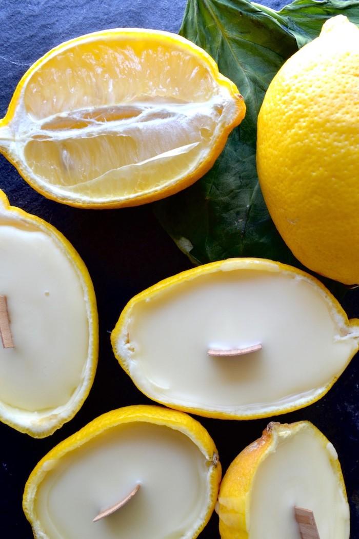 Kerzen in Zitronen, kreative DIY Idee zum Nachmachen, Duftkerzen in Zitronenschalen