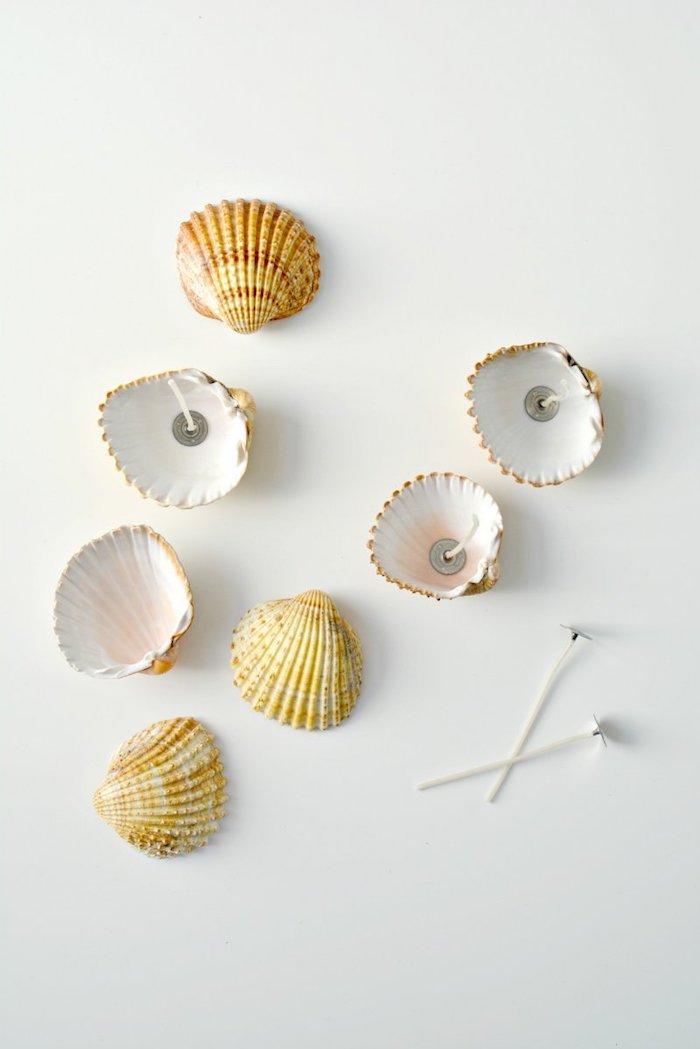 Kerzen aus Muscheln selber machen, DIY Idee für Maritime Deko, sommerliche Stimmung zu Hause