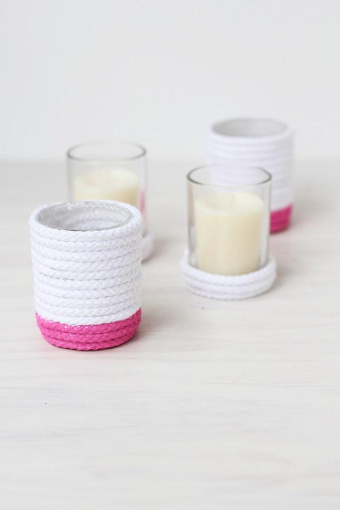 Kerzenhalter selbstgemacht, leichte DIY Idee, mit Schnur umwickelt, rosa bemalt