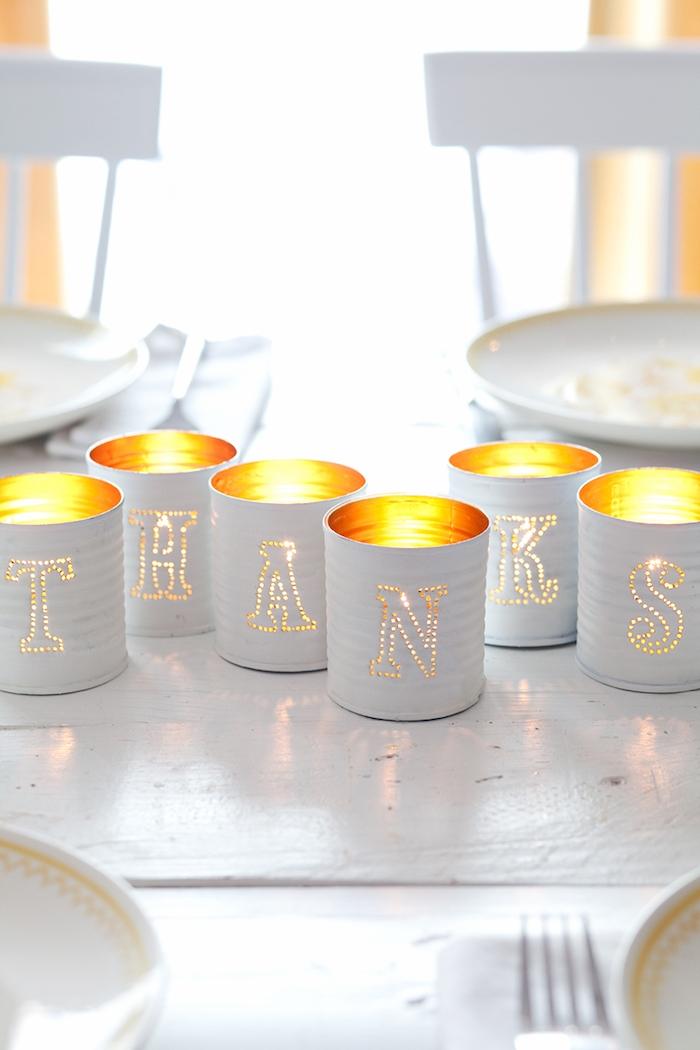 Kerzenhalter aus Dosen selber machen, mit Aufschrift Thanks, kreative DIY Idee
