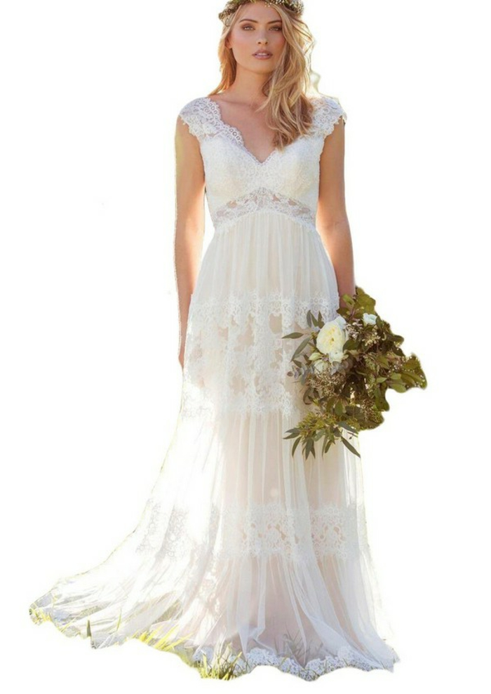 ein Spitzenkleid, Brautkleid Boho Spitze, blonde Braut mit blauen Augen