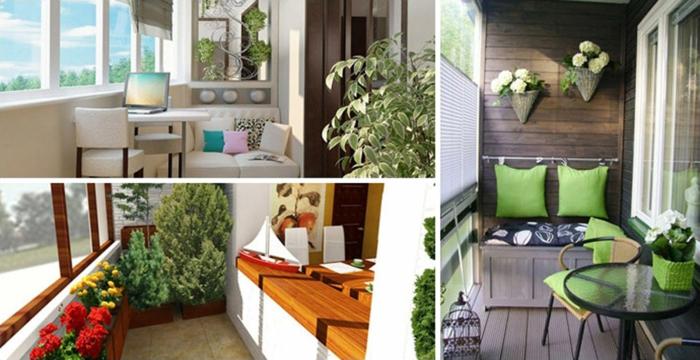 balkon verschönern, drei mögliche designs zum nachmachen, bunte blumen, kissen in satten farben, gemütliche möbel
