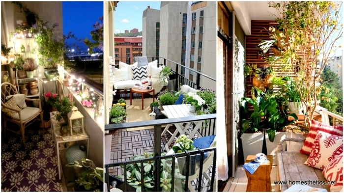 balkon verschönern, drei designs zum faszinieren, vielfältige bunte dekorationen und ideen zum nacmachen