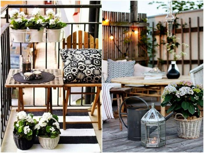 sitzecke balkon, zwei schöne ideen mit vielen blumen, großartiger stil zu hause, kissen, schwarz weiß, beleuchtung deko ideen