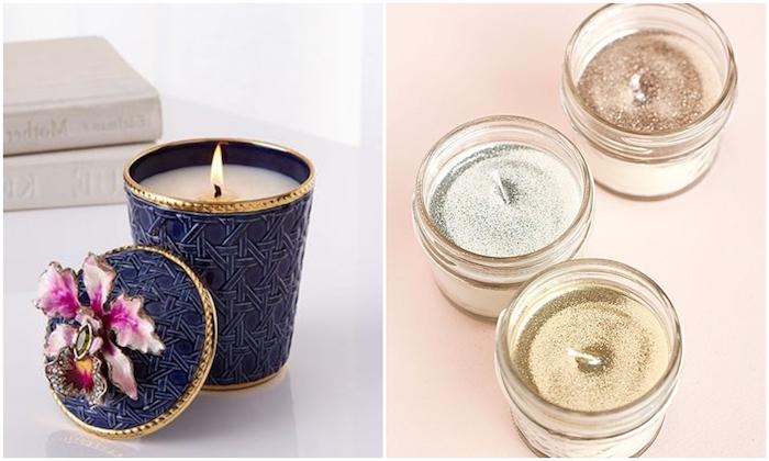 Kerzen selber gestalten, mit Glitzer verzieren, dunkelbaluer Kerzenhalter mit lila Blume
