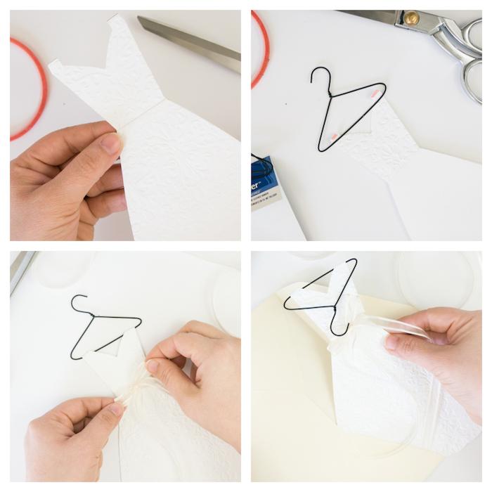 Kreative Idee für selbstgemachte Hochzeitskarte in Form von Brautkleid, Anleitung in vier Schritten