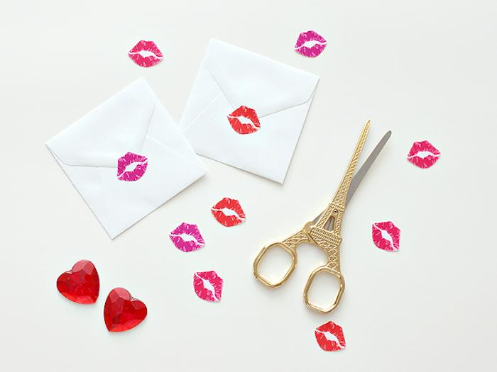 Kleine Küsse herunterladen, ausdrucken und schneiden, Briefumschläge dekorieren