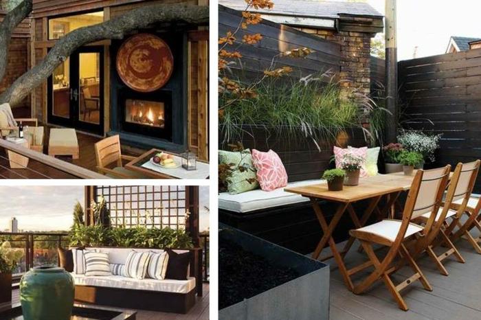 schöne sitzecken auf den verschiedenen balkondesigns, schmalen balkon gestalten, kaminofen