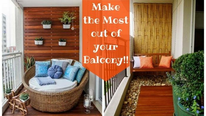 schmalen balkon gestalten, ideen zum nachmachen, zwei designs, orangen farbe mit steine und holz auf dem boden oder rießengroßes sessel