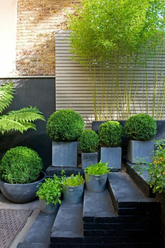 landschaftsgarten idee mit vielen büschen, landhausstil, schöne gestaltung von dem garten, pflanzen in töpfen