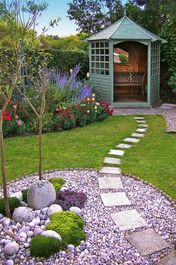 landschaftspark, prächtig und naturnah stil im eigenen garten, sitzecke für jeden, lavendel blumen, steinecke, bäume