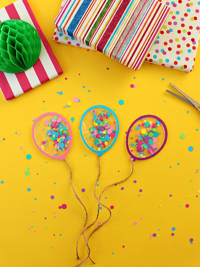 Kleine Ballons aus Papier und Folie mit Konfetti füllen, lustige DIY Idee für Kinder und Erwachsene