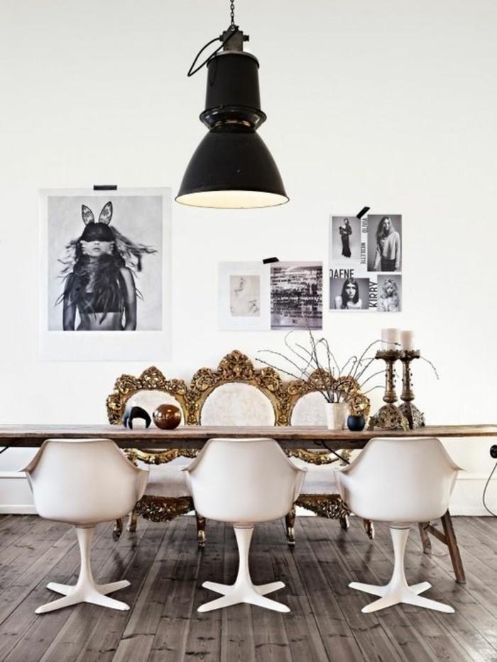 bohemian style in der wohnung, tisch für kleine küche, kreative wanddeko idee, tisch stühle mit dekorationen