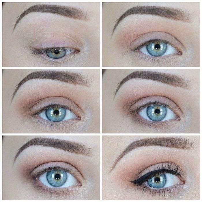 natürliches make up, blaue augen, perfekte augenbrauen, braune lidschatten