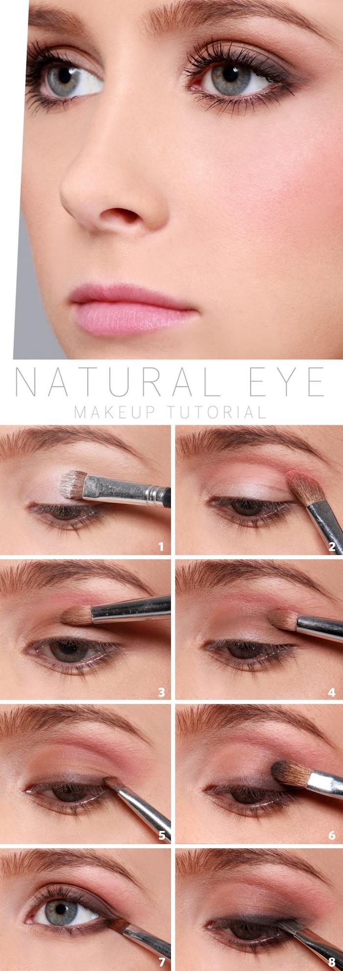 natürliches make up in rosa und braun, rosa lippen, schminken tutorial, schritt für schritt anleitung