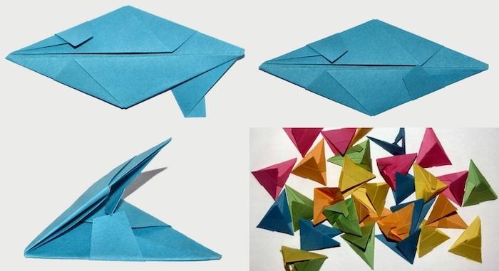 ein gefaltetes blaues blatt papier, origami falten, eine diy schritt für schritt bascetta stern anleitung, viele kleine grüne, orange, blaue und violette blätter