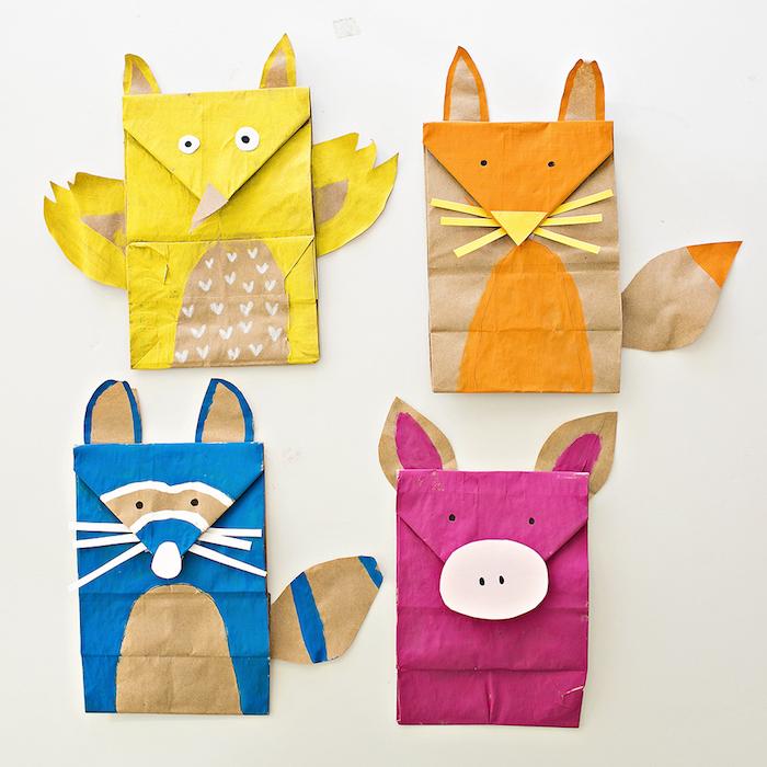 Papiertüten basteln mit Kindern, bunte Tiere, Waschbär Fuchs Küken und Schwein