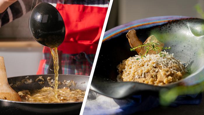 Schnelles Rezept für Risotto mit Pilzen, vegetarische Mittagessen Ideen zum Ausprobieren