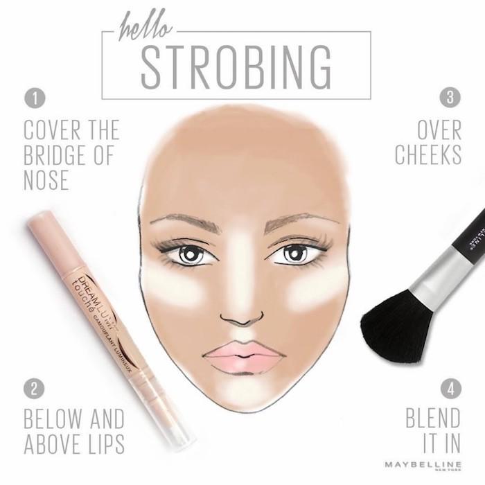 richtig schminken, highlighter richtig auftragen, frauengesicht, zeichnung, shcminkpinsel
