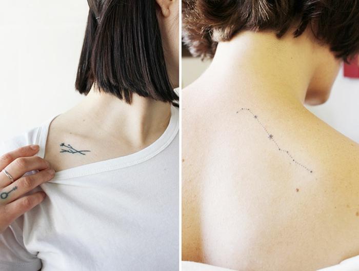 tattoo wasserfarben, sternzeichen tattoo ideen zum nachmachen, frau mit kurzen haaren und tattoo am hals, rücken