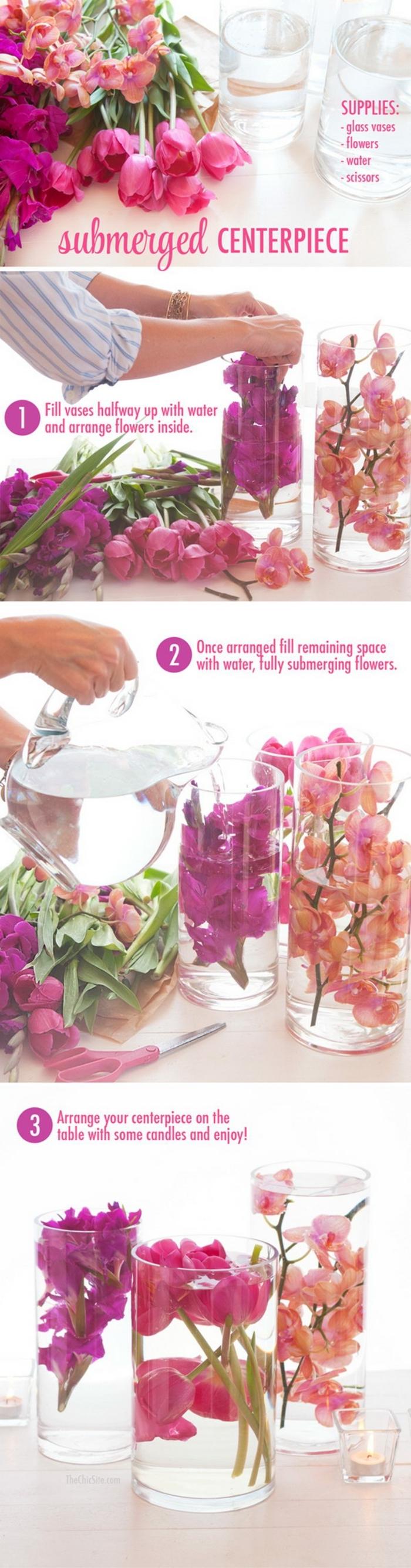 tischdekoration selber machen, anleitungen in bildern, lila deko mit orchideen und anderen