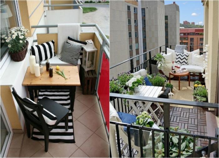kleine terrasse gestalten, ideen zum nachmachen zwei fotos auf einmal, moderne möblierung mit kissen, deko und blumen