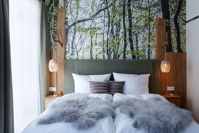 Schlafzimmer zum Wohlfühlen, Wald Fototapete, kuschelige Bettwäsche