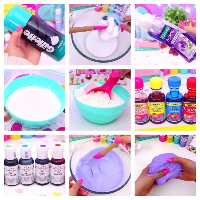 Rezept für Schleim, DIY Anleitung in neun Schritten, alle Zutaten vermischen, lila Farbe