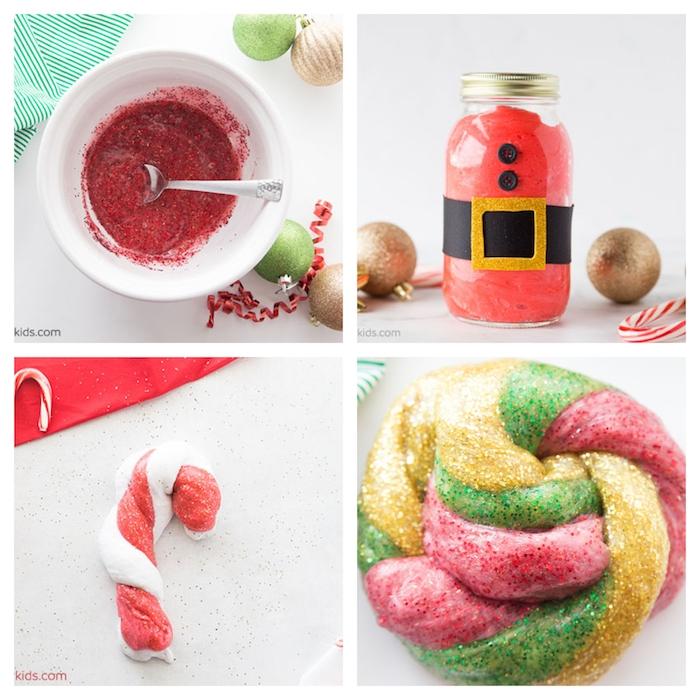 Roten Schleim mit Glitter selber machen, in Weihnachtsmann Einmachglas aufbewahren, mit Gürtel und Knöpfen, Zuckerstange aus roten und weißem Schleim