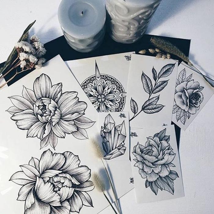 tattoomotive, gänseblümchen tattoo, pfingstrose, rose, mandala tattoos, tattoo vorlagen