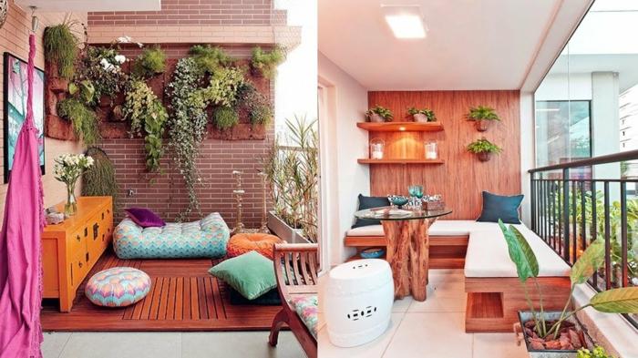 balkon deko ideen in krassen farben rosarot und orange, gesättigte farben bringen frische laune, wandpflanzen deko, gemütliche sitzecken