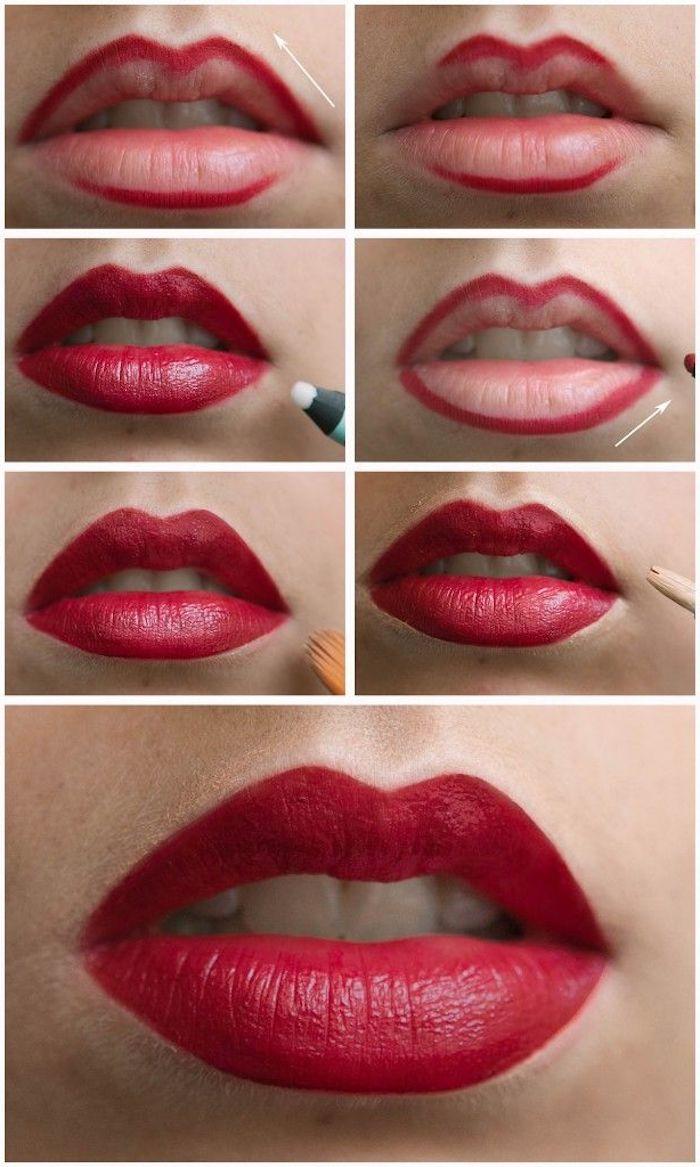 schminken für anfänger, roter lippenstift richtig auftragen, lippen, lippenkontur umranden