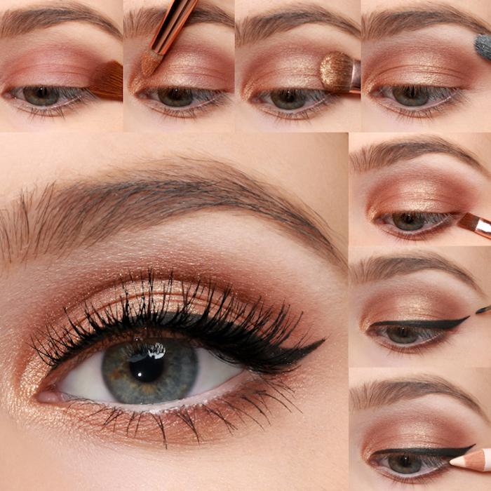 schminktipps augen, festliches make up in braun und gold, eyeliner ziehen, weißer augenstift