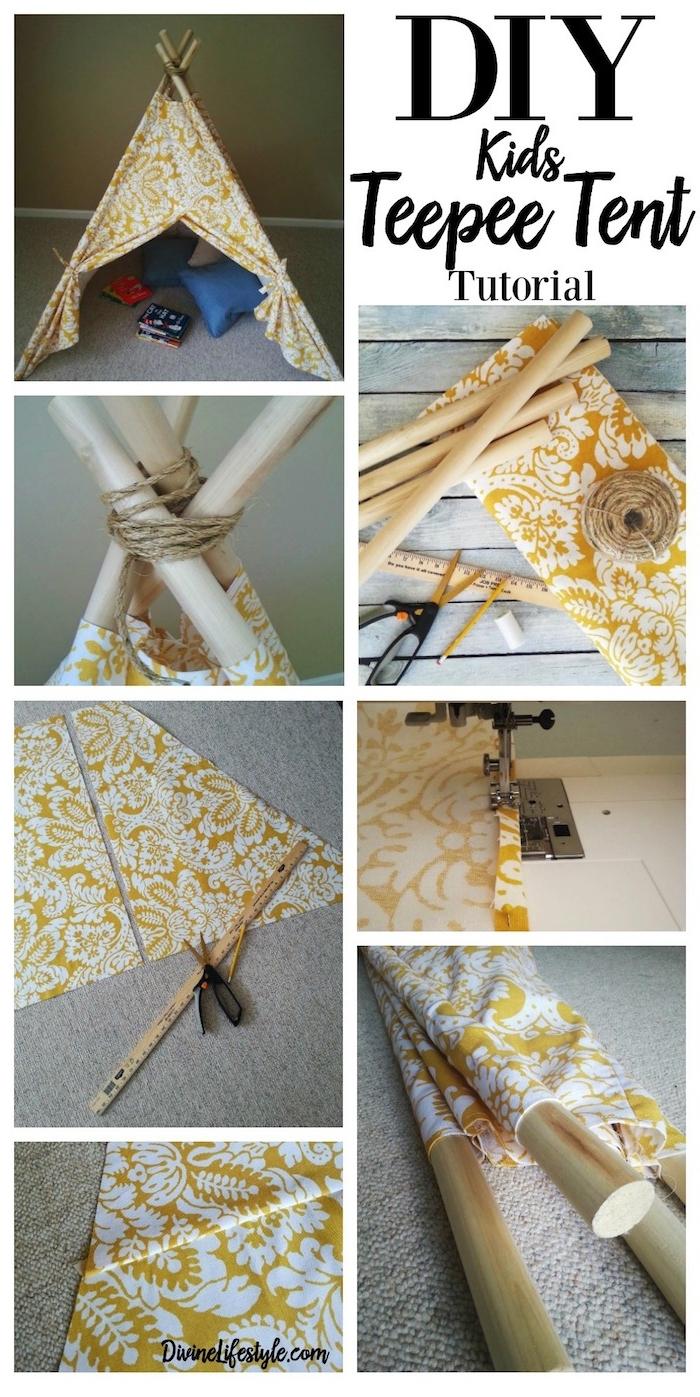 eine diy schritt für schritt anleitung, ein tipi kinderzelt selber bauen, ein lineal aus holz und eine schwarze schere, ein gelber bleistift und ein gelbes kleines zelt mit langen stöcken aus holz