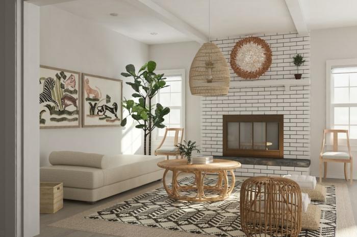 ein Kamin mit weißer Backstein Optik, ein Sofa, Landhaus Stil, Einrichtungsideen Wohnzimmer