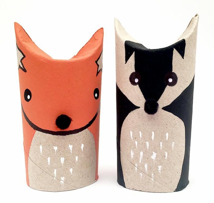 Wolf und Fuchs, Helden aus dem Märchen basteln aus Klopapierrollen