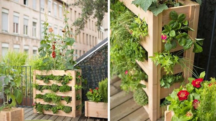 blumen auf dem balkon gestalten, pflanzen. erdbeeren selber pflanzen, pflücken und genießen, hölzerner ständer für blumen