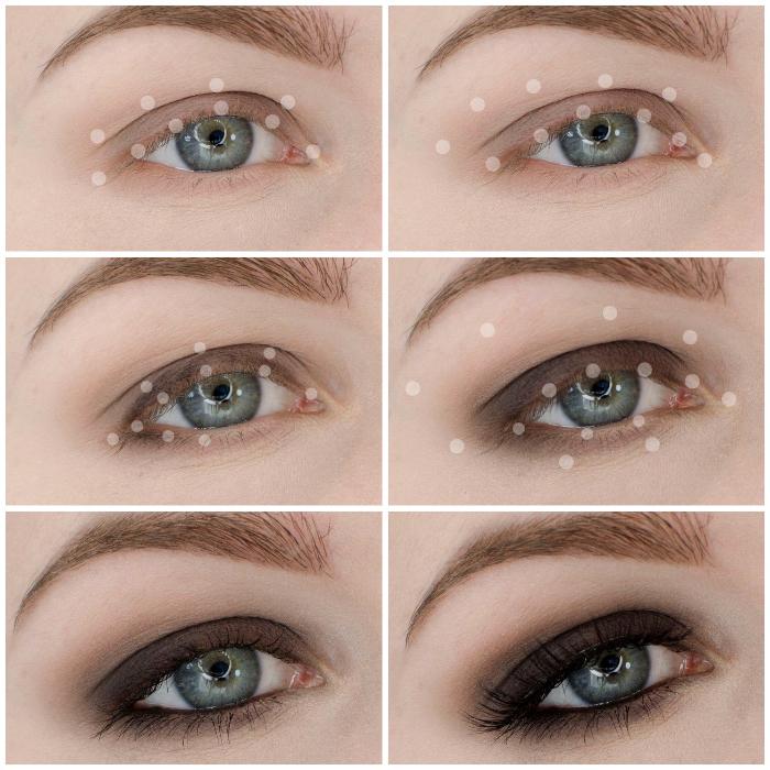 smokey eyes schminken, make up für graue augen, dunkebraune lidschatten, anleitung