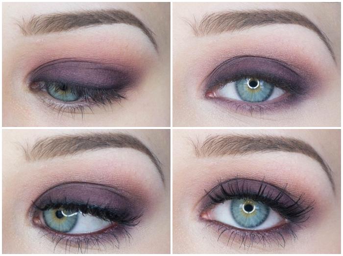 smokey eyes schminken, schmintipps für grüne augen, lila lidschatten