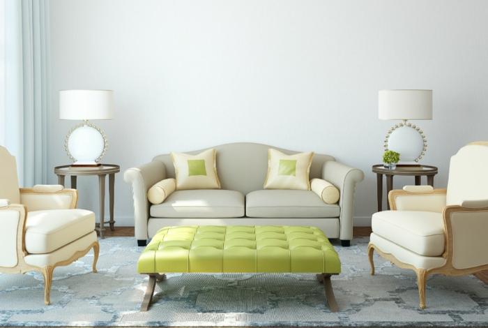 eine symmetrische Gestaltung, zwei Sessel und ein Sofa, grüner Tisch, Einrichtungsideen Wohnzimmer
