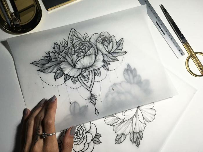 tattoo orchidee, rose, pfingstrose, gänseblume, blumen tattoos ideen zeichnen, mandala tattoo motive