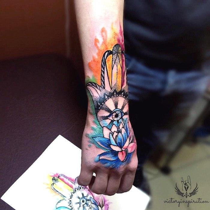 Farbiges Tattoo am Unterarm, Auge der Vorsehung, Arm Tattoos für Männer