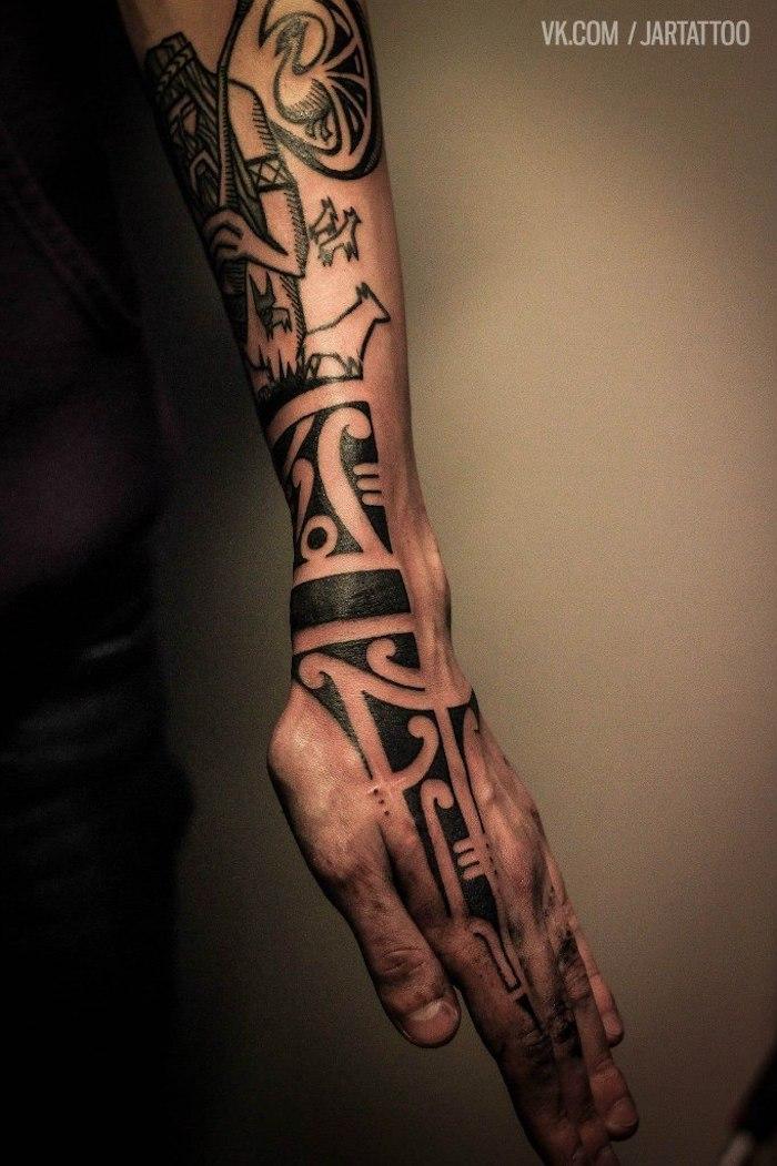 Tattoos am Unterarm und an der Hand, schwarze Tattoos, Motive für Männer