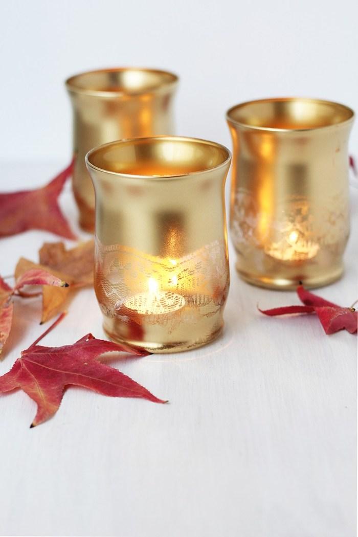 Selbstgemschte Kerzenhalter, schöne DIY Idee für Tischdeko, herbstliche Motive