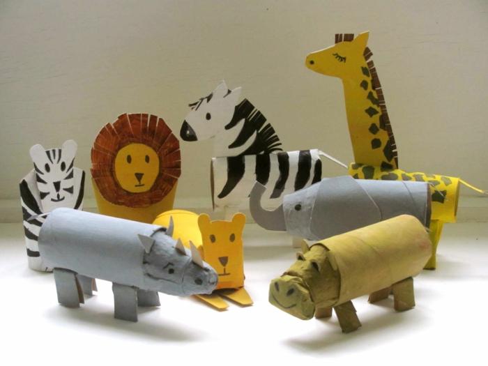Klopapierrollen basteln mit Kindern, die Tiere aus Afrika, Löwen und anderen